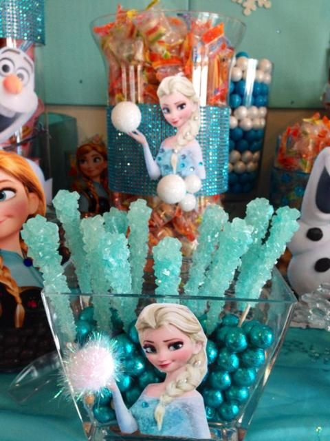 Themed candy at a Frozen Birthday Party!  See more party ideas at CatchMyParty.com!  #partyideas #frozen