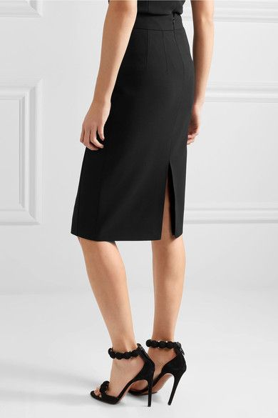 Michael Kors Collection - Button-detailed Wool-twill Pencil Skirt - Black - US14
