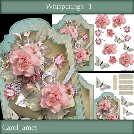 Whisperings 1 on Craftsuprint designed by Carol James - A lovely 2 sheet mini kit which includes a topper (approx 5.7 x 7.98) with decoupage pieces, a greeting card, sentiment tags (plus a blank tag) and a matching insert.