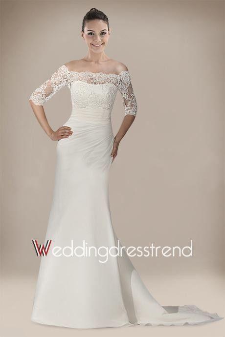 Cheap Pretty A-line Bateau Neckline Sweep Train Lace Wedding Dress - the Best Wedding Dresses Wholesale and Retail Online Store