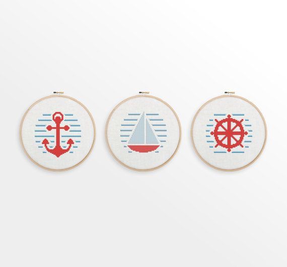 A cute nautical set of three counted cross stitch patterns, perfect for creating gifts or nursery / home decor. PLEASE NOTE: This is an instant