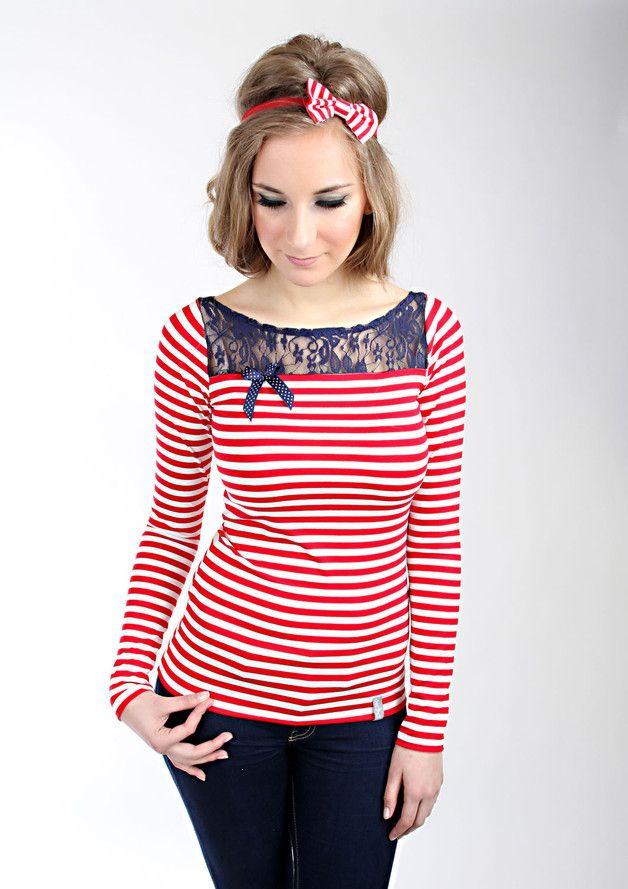 """Longsleeves - MEKO """"Piep"""" Shirt Spitze Damen Streifen Rot - ein Designerstück von meko bei DaWanda"""