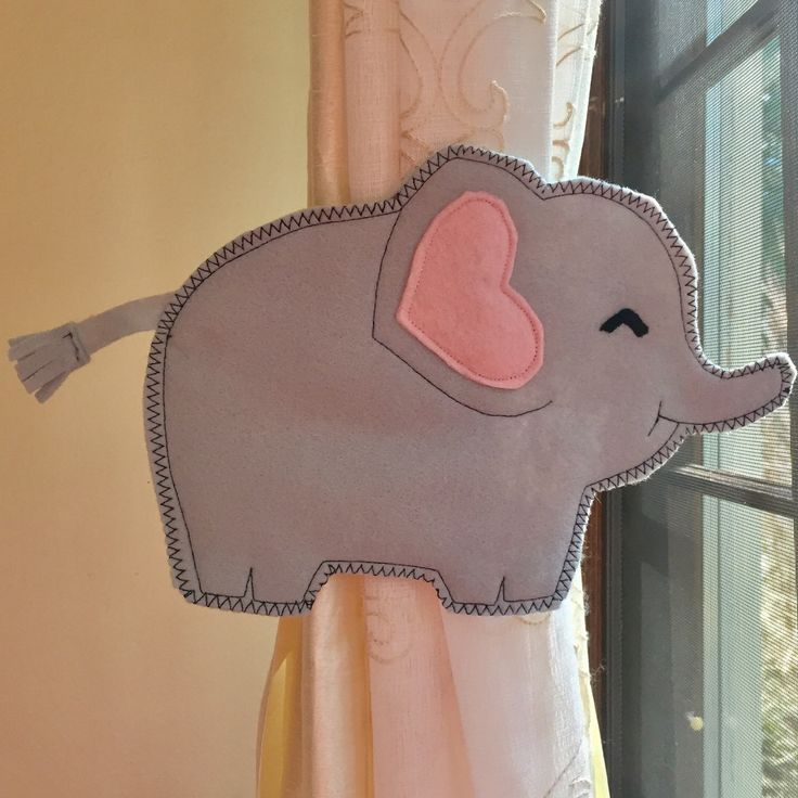 New creation for safari theme: kawaii baby elephant tieback!