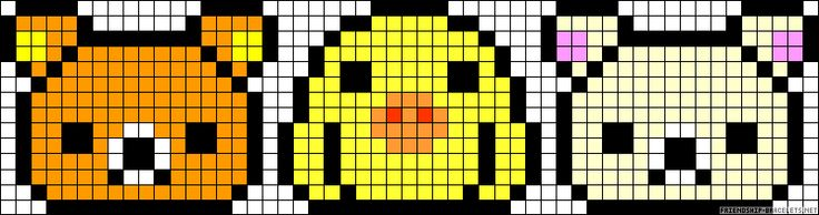 Rilakkuma perler bead pattern... Could be used for Rainbow Loom