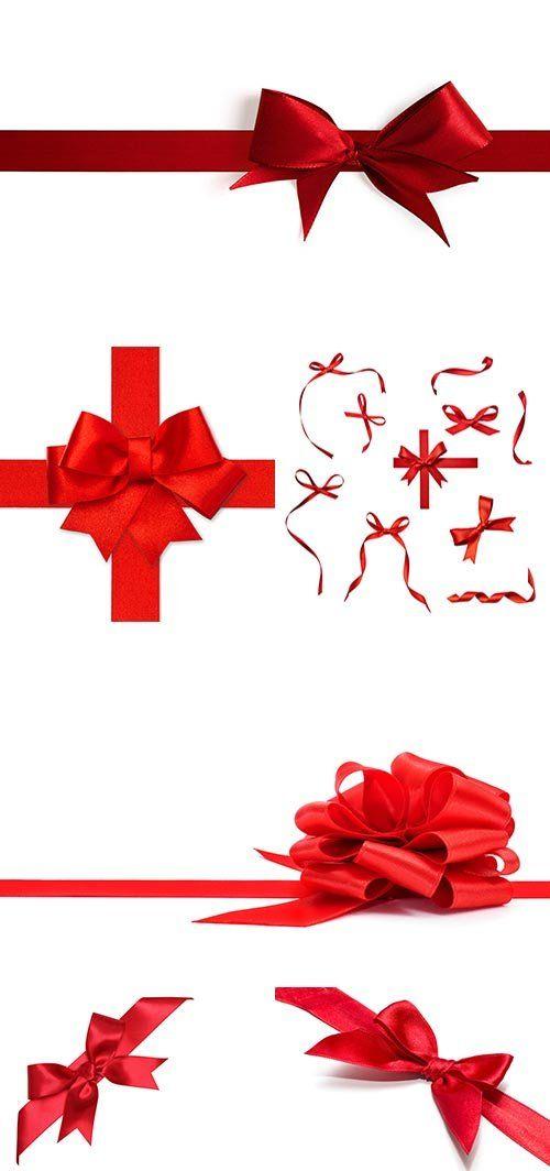 Растровый клипарт - Красные банты и ленты