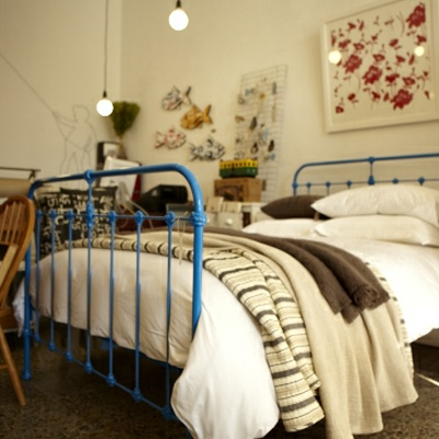 scout cast iron bed in blue - Cast Iron Bed Frame