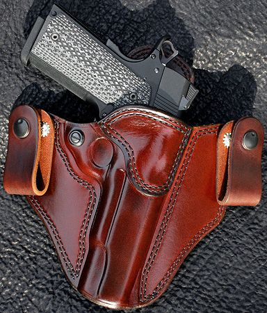 "Brigade Holsters- M-12 Custom IWB Holster Black / Black stitching -  Left hand P938 1.5"" exotic trim????"
