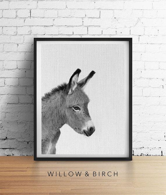 DONKEY Printable Art Christmas Donkey by WillowandBirchPrints
