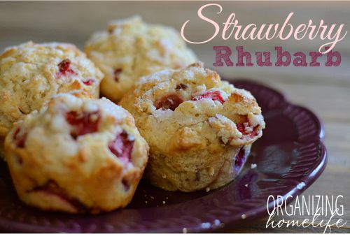Strawberry Rhubarb Muffins - substituted in 1/2 c. whole wheat and 1/3 c. greek yogurt instead of oil - a touch more hearty and still delicious!