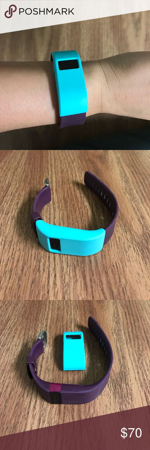 Purple Fitbit HR Band itself is in great condition, screen has minor scratches.  Comes with blue case that fits over it,  and black charger cord. fitbit Jewelry Bracelets