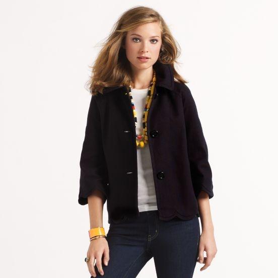 Kate Spade: Design Clothing, Scallops Hemmings, Scallops Edge, Coats And Jackets, Kate Spade, Women Coats, Designer Clothing, Chunky Necklaces, Darian Jackets