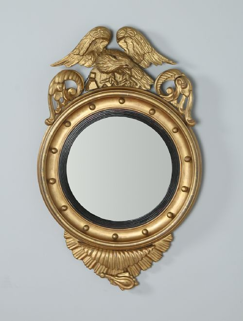 Georgian Regency Carved Gilt Wood Eagle Convex Butlers Round Wall Mirror (Circa 1820). Excllent condition. Fantastic color. No damages.