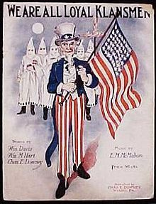 Ku Klux Klan sheet music...................Today it would Barack Obama wearing the Uncle Sam clothes and the democrat party in KKK uniforms..