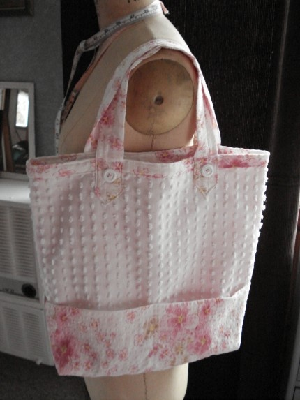 Love this little bag made from an old chenille bedspread.