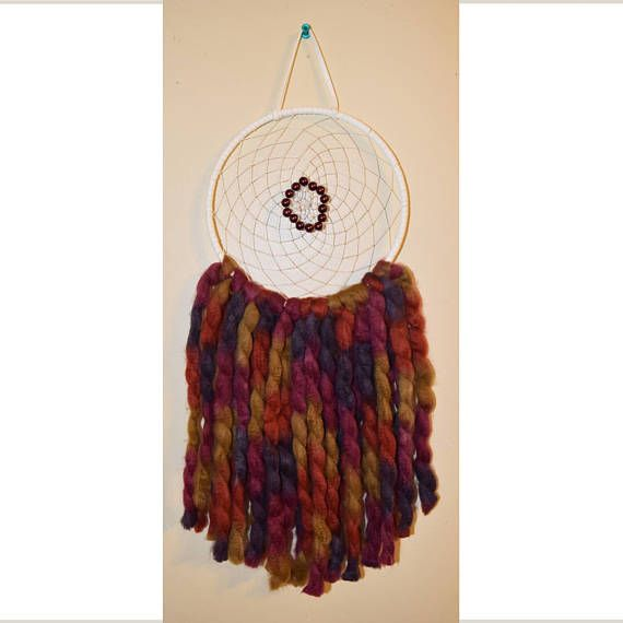 Large Multi-colour Dream Catcher Purple Pearl Beads Red