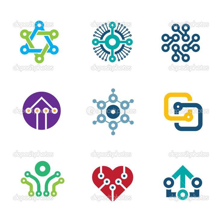 Future innovation technology computer  integrated chip nanotechnology science logo icons — Ilustração de Stock #47806917