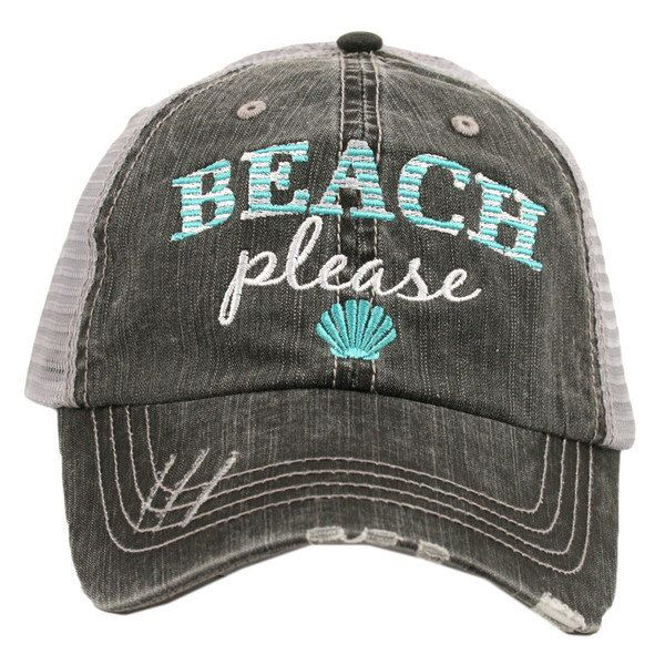 Beach Please Trucker Hat, Novelty Hat, Beach Hat,  Beach Fashion, Embroidered Novelty Hat, Ladies Hat, Womans Hat, by RagCrazy on Etsy https://www.etsy.com/listing/277910054/beach-please-trucker-hat-novelty-hat