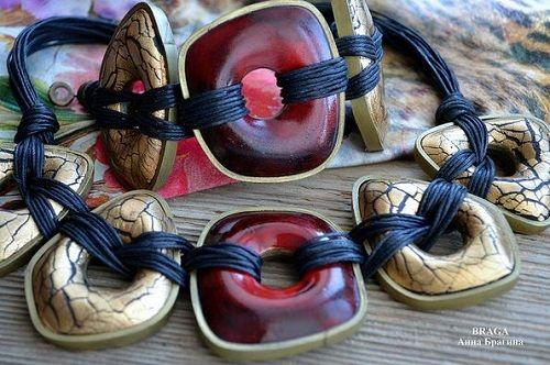 Великолепная полимерной глины и кожаные ювелирные изделия Анна Брагина ~ бисером Жемчужина журнал