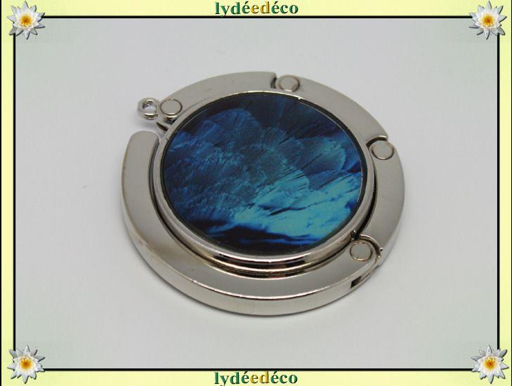 Accroche sac retro Plumes tons bleu resine sur metal argent : Autres accessoires par lydeedeco