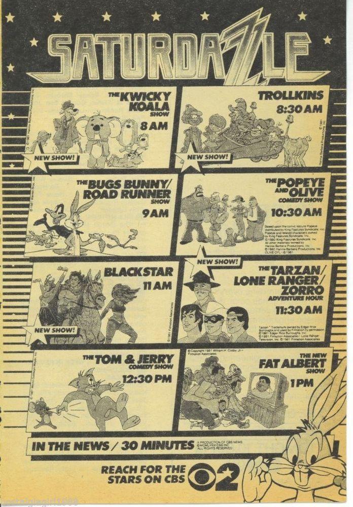 1981 TV Guide Ad CBS Saturday Morning Bugs Tom & Jerry Tarzan Blackstar Zorro