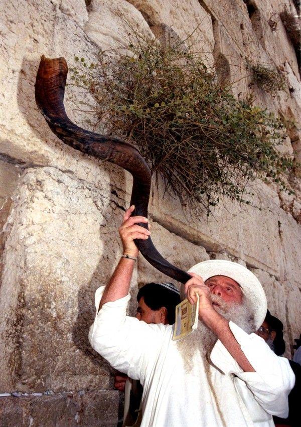 A Jewish man blows the shofar on Erev Rosh HaShanah (Jewish New Year's Eve) in Jerusalem. (GPO photo by Ohayon Avi)