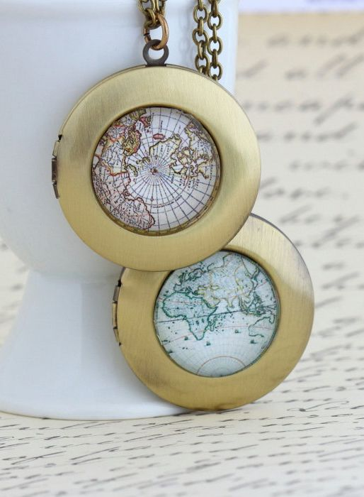 Map Locket Necklace Gift For Traveler World