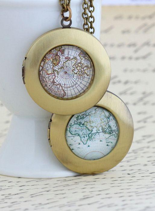 Map Locket Necklace Gift For Traveler World