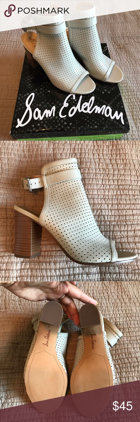 """Size 9 Sam Edelman open toe boot NEW Peep toe, light tan/cream color laser cut design on this gorgeous heeled bootie. Reposh because they ended up being a little too big on me, but they are amazing!! Almost 4"""" heel. Sam Edelman Shoes Heeled Boots"""