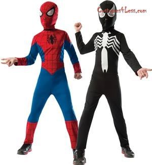 Now your boy can become both superhero and villain at the same time with this Reversible SpiderMan Costume! One side of the costume features the traditional Spiderman s blue and red suit with black spider on the symbol and the other side black jumpsuit with a large white spider on the chest. The mask is also reversible with one side red and the other black. Perfect for Halloween or pretend play! Get ready for some Halloween fun in this reversible costume!