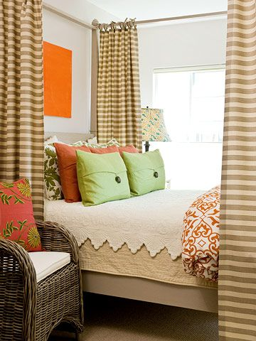 cute bedroom: Guest Room, Bedrooms Makeovers, Canopies Beds, Colors Bedrooms Cozy, Accent Colors, Neutral Colors For Bedrooms, Bedrooms Decor, Bright Colors, Bedrooms Ideas