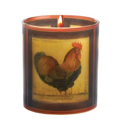 Country Rooster Candle Decor   Countrified Candle Features Image Of A  Majestic Rooster. Enjoy Scented