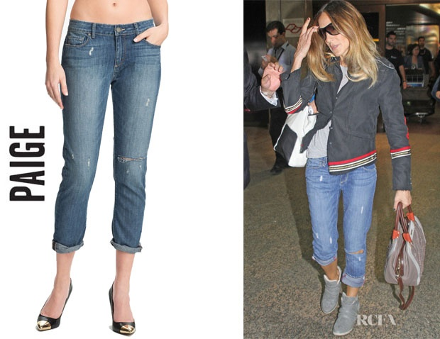 Looking casual and laid back, SJP wears Paige distressed Lydia jeans.
