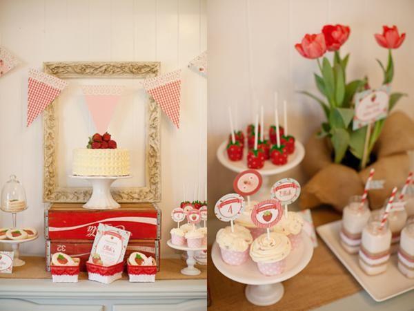 Vintage Strawberry Shortcake Girl Summer Party Planning Ideas
