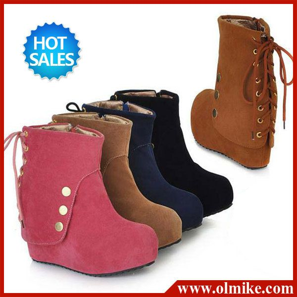free shipping hot sale women fashion high Wedge shoes Suede platform boots for lady rivets Winter warm boot Eur size 34 -39 B035 $38.99
