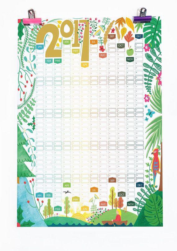 2017 calendario illustrato parete Planner Seasons natura illustrazione
