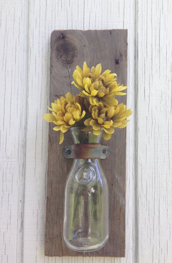 Wooden Wall Sconces, Old Milk Bottle Mounted This is a great one for craft shows!