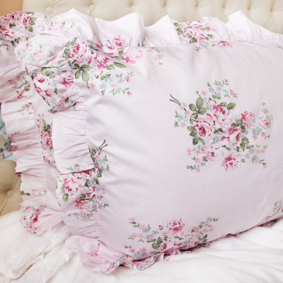 pink rose ruffle victorian shabby chic cottage french parisian cotton pillow sham pillowcase