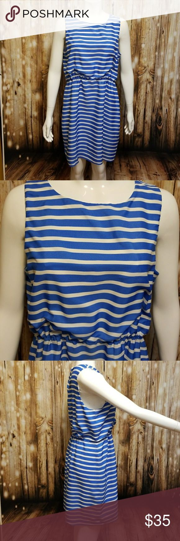 "J.Crew blue & white striped dress Blue and white striped dress with elastic waist and zip up back. Fully lined.  Bust- 21.5"" flat.  Waist- 15""- 19"" flat (elastic). Hips- 23"" flat. Length- 36"".  100% polyester. J. Crew Dresses"