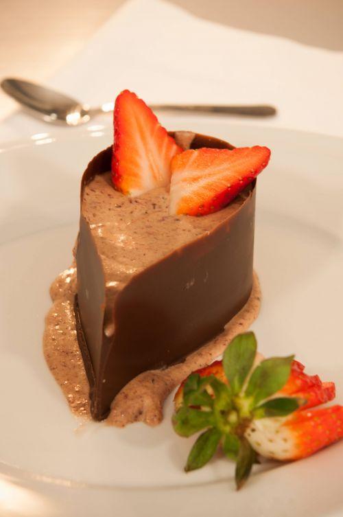 Blackberries mousse, chocolate tear #dinner #dessert @Cincsor.Transylvania.Guesthouses