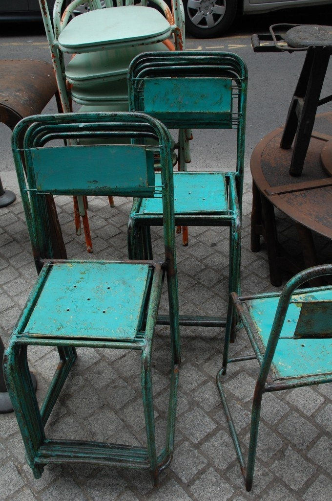 turquoise chairs at the flea market