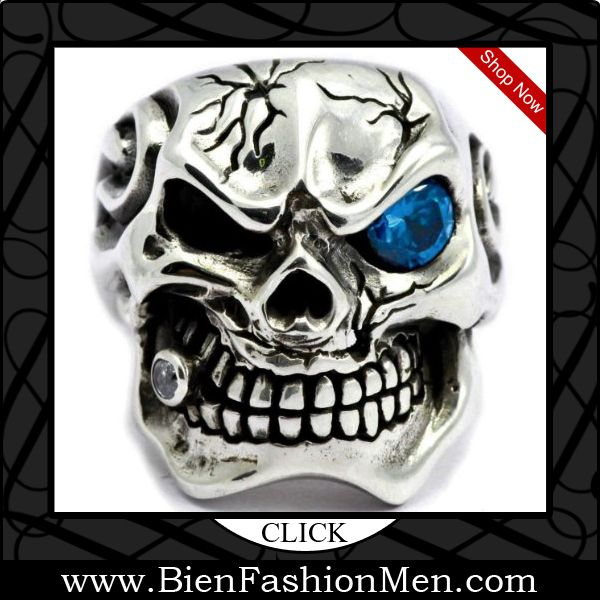 Mens Bold Rings | Mens Bold Ring | Mens Rings | Bold Rings | Mens Jewelery | Jewelry on Men | Jewelery for Men | Men Jewellry | Male Jewellery | Chunky Rings | Affordable Rings | Shop Now ♦ Al Capone(Blue Eye) : 925 Sterling Silver Skull Ring (US Size) $99.00