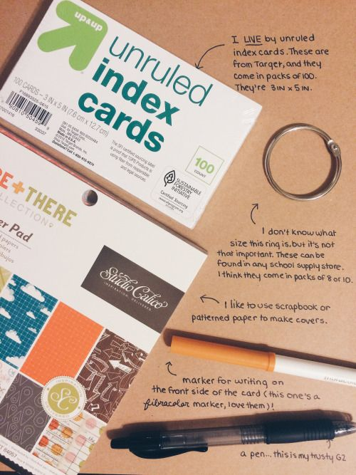 """cw0630: """"After my post about notecards and midterms, a lot of you guys sent me messages about how I make them, what kind of cards or rings I use, etc. Soooo, without further ado… I'll be using my..."""