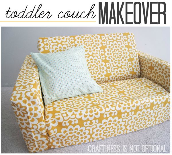 Tufted Sofa toddler couch makeover recovered Dora fold out kid couch craftiness is not optional