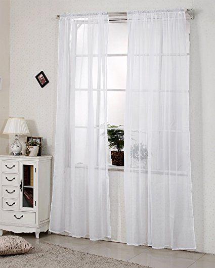 Amazon.de: WOLTU VH5511ws Gardine Vorhang transparent mit 50mm KRÄUSELBAND Stores Schal Fensterschal