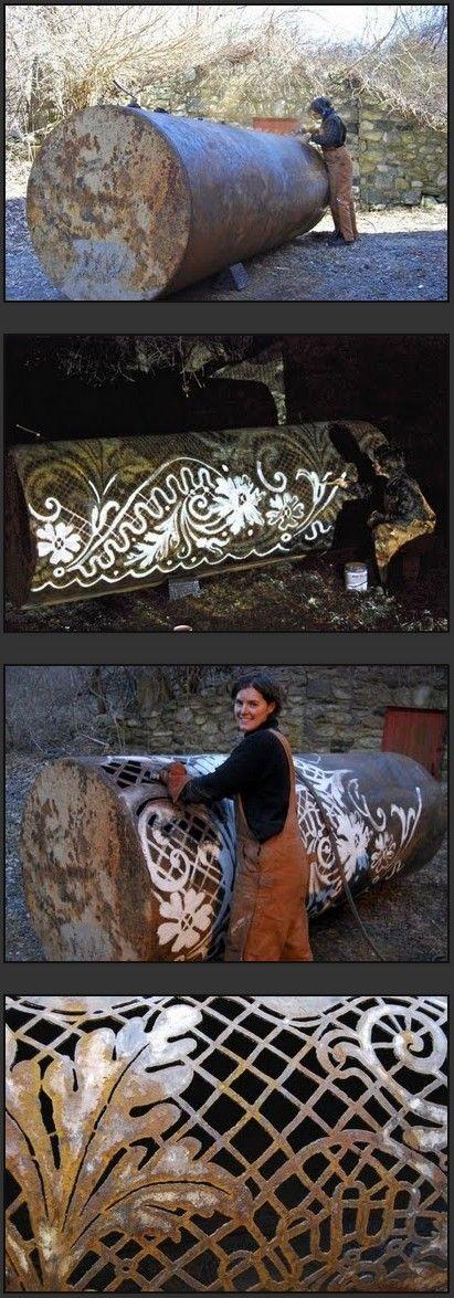 Cal Lane, metal artist, plasma cut reclaimed steel