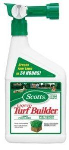 Scotts Liquid Turf Builder by Scotts. $19.05. Scotts Lawns #5410260 Quart RTS Liquid Turf Builder. SCOTTS LAWNS. Green Sweep Turf Builder Lawn Fertilizer A Green Lawn is Just a Spray Away Our liquid Turf Builder has a special formula that allows for fast absorption that gives your lawn a quick boost of nitrogen that lasts for weeks. Simple and very safe to use. Just attach hose and spray Quickly restores deep green color to lawns Unique Goof-Proof system applies product a...