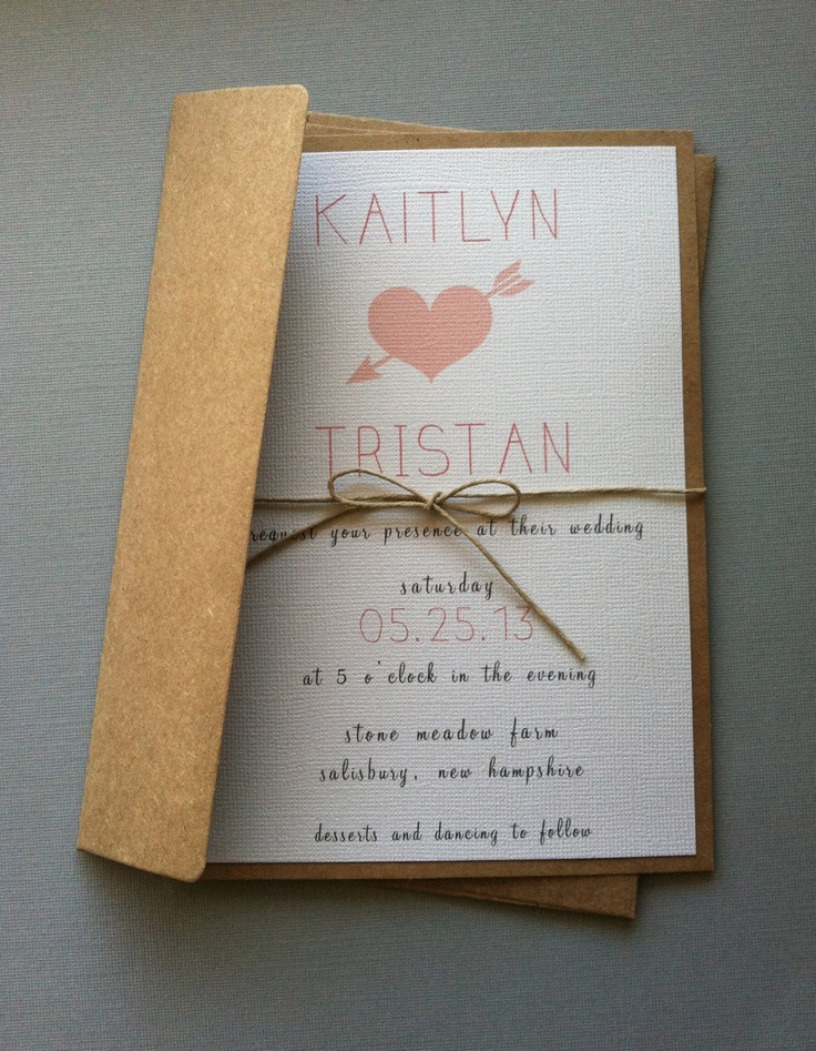 Rustic Heart Wedding Invitations. $2.00, via Etsy.