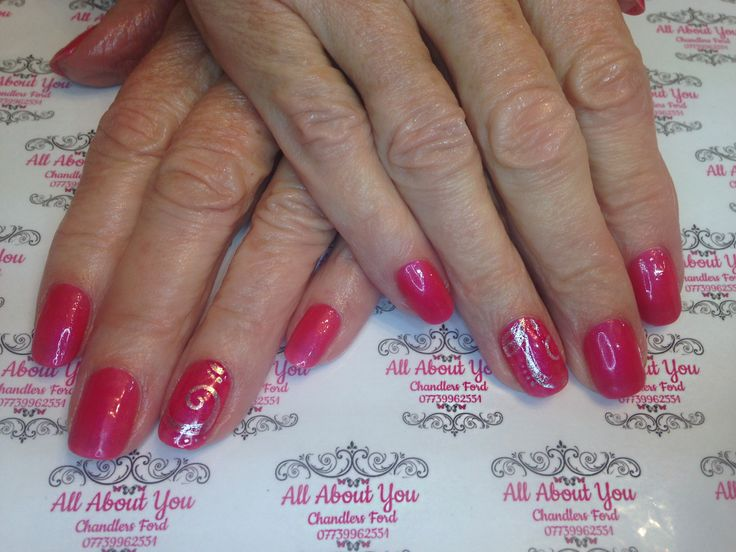 #silver #stamping #accent nails on #pink #gel #polish 😍