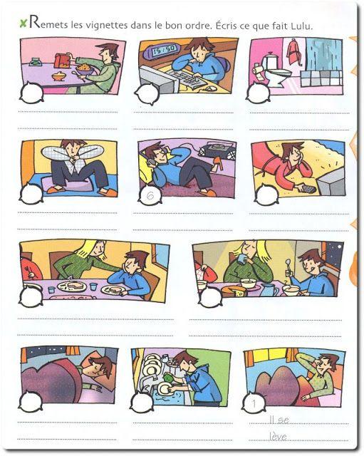 Poner en orden las imágenes y decir qué hace el personaje.