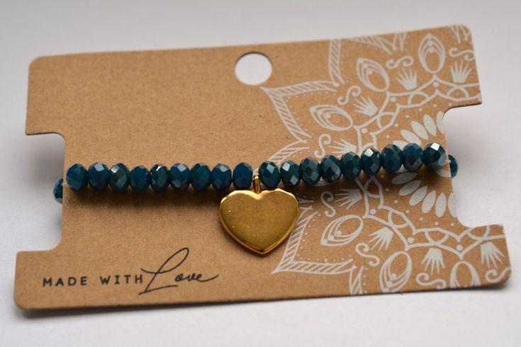 """Armbänder - Facettenperlen Armband blau mit Anhänger """"Herz"""" - ein Designerstück von bracelens bei DaWanda  #armband #armbänder #dawanda #herz #gold #shop #handgemacht #handmade #liebe #love"""
